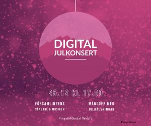 """Juldagen 25 dec kl 17.00 – Digital Julkonsert – """"En Frälsare är född åt er i Mölndals stad"""""""